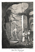 Excavating a low-relief carving of the Fish god Dagon. From Austen Layard  'Discoveries in the Ruins of  Ninevah and Babylon' London 1853. Lithograph.