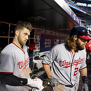 NEW YORK, NEW YORK - May 19: Bryce Harper #34, (left), of the Washington Nationals and Jayson Werth #28 of the Washington Nationals in the dugout preparing to bat during the Washington Nationals Vs New York Mets regular season MLB game at Citi Field on May 19, 2016 in New York City. (Photo by Tim Clayton/Corbis via Getty Images)