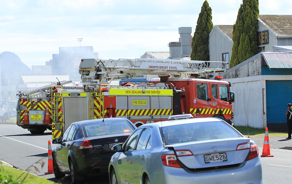 One fireman needed medical attention after fire broke out at a panel beaters at Sulphur Point causing disrurption to trucks leaving the port, Mt Maunganui, Tauranga,, New Zealand, Monday, March 10, 2014. Credit:SNPA / Cameron Avery
