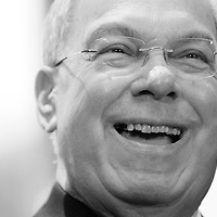 Mayor Thomas Menino laughs as he speaks with staffers and media on his last day in office at Boston City Hall, Monday, January 06, 2014.