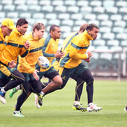 Team warm up during the Team training - Australia,Wednesday 12 October 2011 Australia training session. North Harbour Stadium Stadium Drive Albany, Auckland.<br />  Photographer Steve Haag