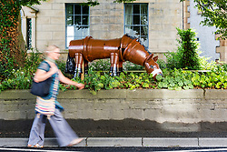© Licensed to London News Pictures. 17/07/2018. Settle UK. A lady walks past a horse made entirely of flowerpot's in the market town of Settle in the Yorkshire Dales. The Settle flowerpot festival runs through July & August & see's 100's of flowerpot creations placed around the town. Photo credit: Andrew McCaren/LNP