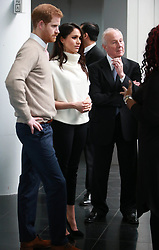 March 8, 2018 - Birmingham, England, United Kingdom - 3/8/18.Prince Harry and Meghan Markle attend an event at Millennium Point to celebrate International Women''s Day in Birmingham on 8th March 2018..The event aims to inspire the next generation of young women to pursue careers in Science, Technology, Engineering and Maths (STEM). Hosted by social enterprise Stemettes, the event will bring together female students from local secondary schools and include interactive activities, a panel discussion, speed networking opportunities with local businesses, and information on work experience, apprenticeships, A-level choices, and university degrees in STEM. Prince Harry and Ms. Markle will join the young women as they take part in building apps and touchpads, before hearing more about their motivations to pursue STEM subjects. (Credit Image: © Starmax/Newscom via ZUMA Press)
