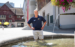 20.08.2012, Stadtbrunnen am Marktplatz, Dornbirn, AUT, EBEL, Dornbirner Eishockey Club, DEC Media Days 2012, im Bild Dave MacQueen, (Dornbirner Eishockey Club, Head Coach) // during the DEC Media Days 2012 of Erste Bank Icehockey League Team, Dornbirner Icehockey club at the City, Dornbirn, Austria, 2012/08/20, EXPA Pictures © 2012, PhotoCredit: EXPA/ Peter Rinderer