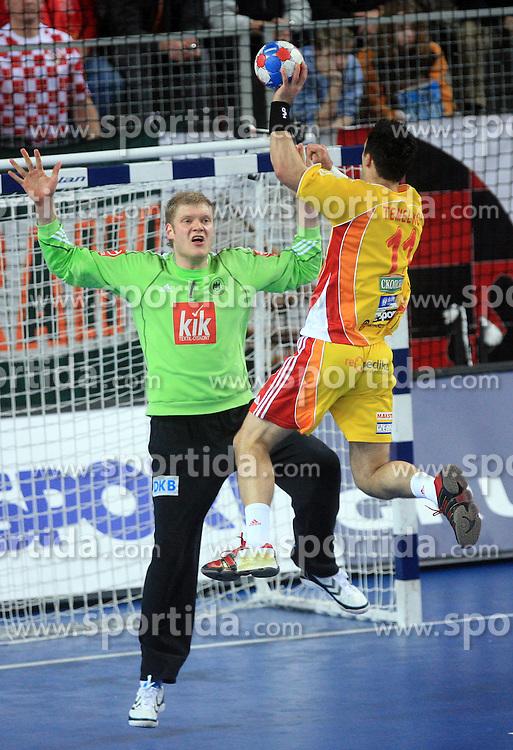 Goalkeeper of Germany Johannes Bitter vs Vladimir Temelkov (11) of Macedonia  during 21st Men's World Handball Championship preliminary Group C match between FYR Macedonia and Germany, on January 21, 2009, in Arena Varazdin, Varazdin, Croatia. (Photo by Vid Ponikvar / Sportida)