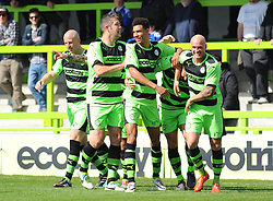 Forest Green Rovers's Aarran Racine celebrates his goal with team mates - Photo mandatory by-line: Nizaam Jones - Mobile: 07966 386802 - 11/04/2015 - SPORT - Football - Nailsworth - The New Lawn - Forest Green Rovers v Macclesfield Town - Vanarama Football Conference