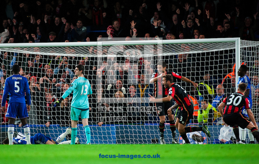 Glenn Murray scores for AFC Bournemouth after a misdirected punch from Thibaut Courtois of Chelsea  during the Barclays Premier League match at Stamford Bridge, London<br /> Picture by Jack Megaw/Focus Images Ltd +44 7481 764811<br /> 05/12/2015