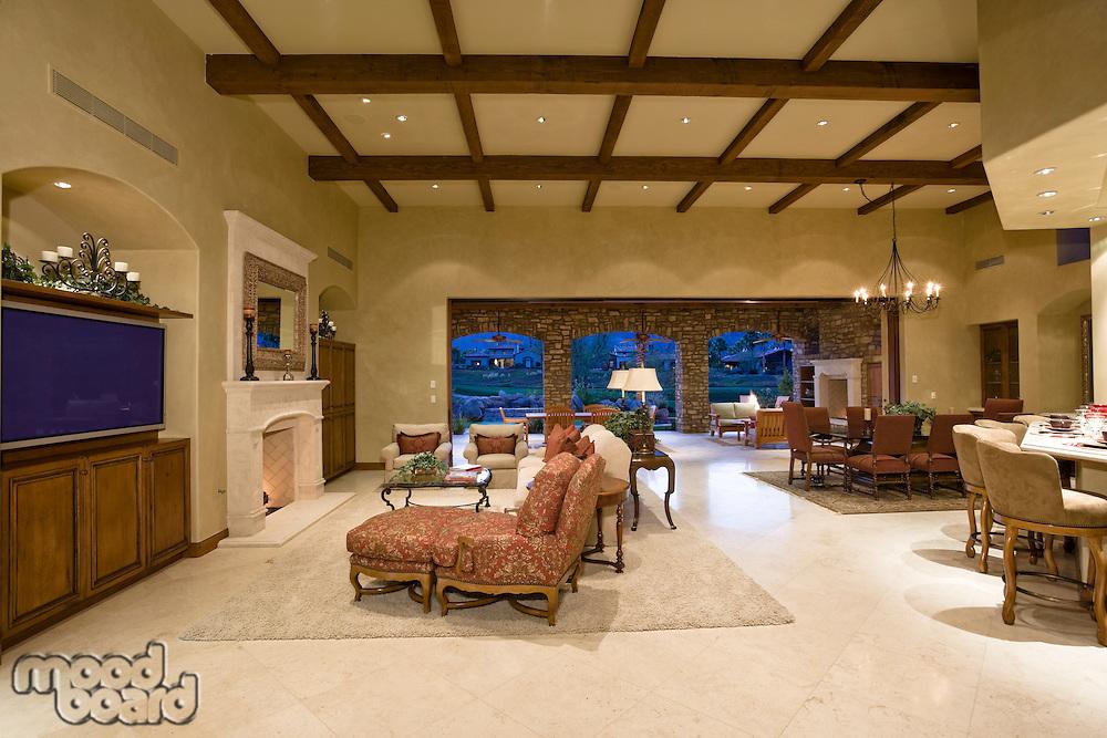 Illuminated interior of luxurious residence