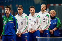 Team Slovenia during Qualification match between National teams of Slovenia and Belgium for ITTF European Championship 2019, on February 27, 2018 in Otocec, Slovenia. Photo by Urban Urbanc / Sportida