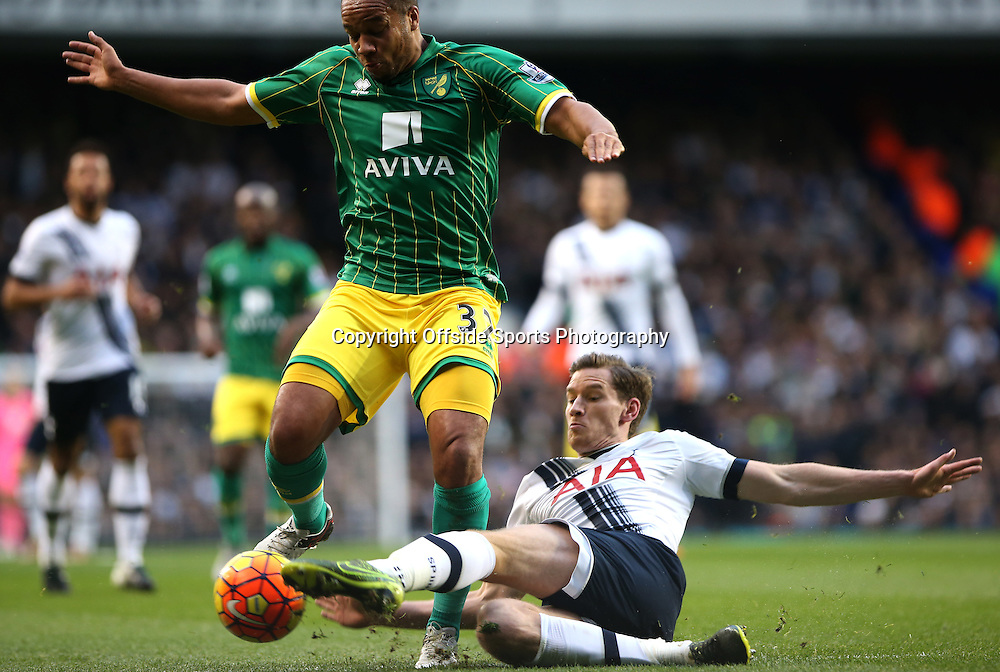 26 December 2015 - Premier League - Tottenham Hotspur v Norwich City<br /> Jan Vertongen of Spurs slide tackles Vadis Odjidja-Ofoe of Norwich<br /> Photo: Charlotte Wilson / Offside