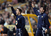 Photo: Rich Eaton.<br /> <br /> Wolverhampton Wanderers v Leeds United. Coca Cola Championship. 24/02/2007. Dennis Wise, manager of Leeds  United left and his assistant Gus Poyet appear to send out different signals during the first half