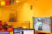 Israel, Tel Hashomer, Monitors in the nurse station watching a patient undergoing radiation due to breast cancer. at the Chaim Sheba medical center oncology ward