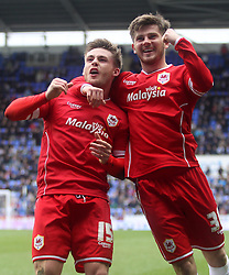 Cardiff City's Conor McAleny celebrates scoring with Cardiff City's Matthew Kennedy - Photo mandatory by-line: Robbie Stephenson/JMP - Mobile: 07966 386802 - 04/04/2015 - SPORT - Football - Reading - Madejski Stadium - Reading v Cardiff City - Sky Bet Championship