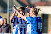 Charlotte Gurr and Jay Blackie celebrate during the FA Women's Sussex Challenge Cup semi-final match between Brighton Ladies and Hassocks Ladies FC at Culver Road, Lancing, United Kingdom on 15 February 2015. Photo by Geoff Penn.