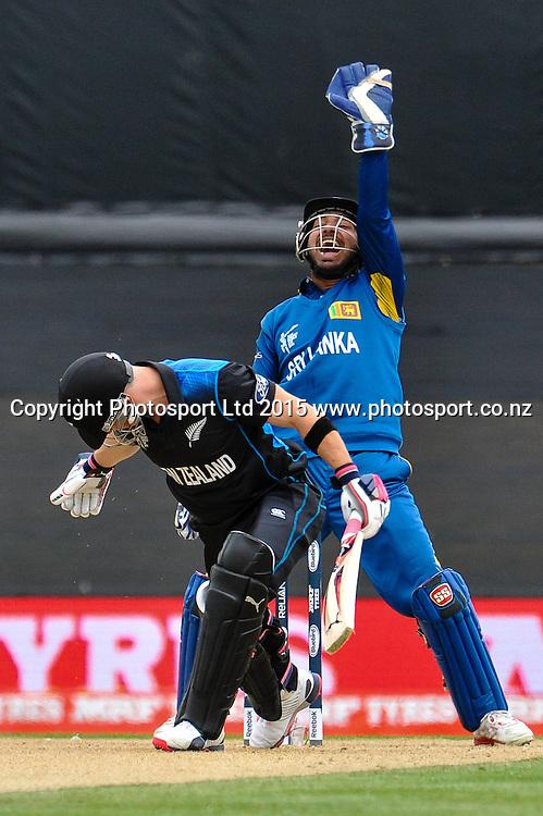 Brendon McCullum of the Black Caps and Kumar Sangakkara of Sri Lanka during the ICC Cricket World Cup match between New Zealand and Sri Lanka at Hagley Oval in Christchurch, New Zealand. Saturday 14 February 2015. Copyright Photo: John Davidson / www.Photosport.co.nz