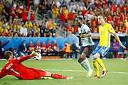 Belgium forward Romelu Lukaku (9) scores before realising he is offside during the Euro 2016 match between Sweden and Belgium at Stade de Nice, Nice, France on 22 June 2016. Photo by Andy Walter.