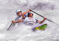 July 19, 2015: Charles Correa (2A) and Anderson Oliveira  of Brazil competing in the Men's Canoe (C2) Slalom final at the Minden Wild Water Preserve during the Toronto 2015 Pan America Games in Canada. Brazil finished second to take home the silver medal.