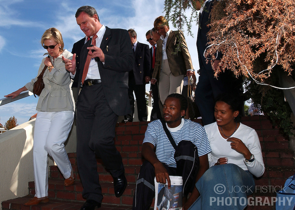 STELLENBOSCH, SOUTH AFRICA - Princess Astrid and Marc Verwilghen , Belgian Minister of Development and Cooperation, visit Stellenbosch University, an Afrikaans University where all undergraduate classes are taught in the Afrikaans language. The graduate level courses are taught in English. (PHOTO &copy; JOCK FISTICK)<br />