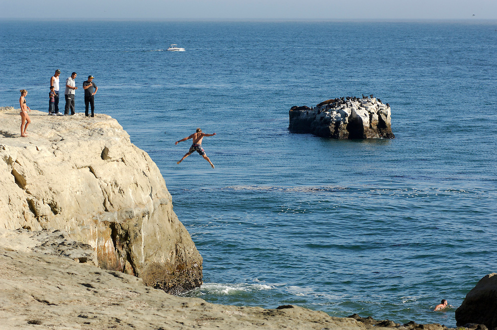 Brave jumping into sea, Lighthouse Field State Park, Santa Cruz, California, United States of America