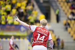 Saugstrup Jensen Magnus Saugstrup of Aalborg Handbold during handball match between RK Celje Pivovarna Lasko (SLO) and Aalborg Handbold (DEN) in VELUX EHF Champions League, on February 24, 2018 in Dvorana Zlatorog, Celje, Slovenia. Photo by Urban Urbanc / Sportida