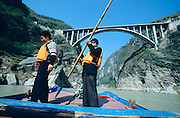Fengjie, entrance to Lesser 3 Gorges on a contributary to the Yangzi. The new bridge will be just above water level after the flooding of the Three Gorges Dam, starting in 2002.