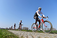 Stijn DEVOLDER (Bel) Team Trek Factory racing (Usa) during training on april 9 prior to the famous cycling race Paris Roubaix with paving stones paths which will take place on april 12, 2015 - Photo Tim de Waele / DPPI