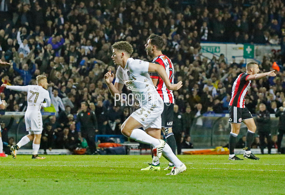 Goal celebration by Kalvin Phillips of Leeds United  during the EFL Sky Bet Championship match between Leeds United and Sheffield Utd at Elland Road, Leeds, England on 27 October 2017. Photo by Paul Thompson.