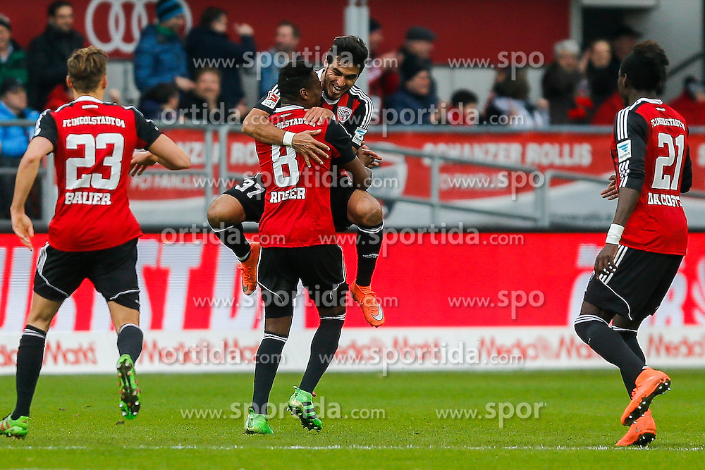 12.03.2016, Audi Sportpark, Ingolstadt, GER, 1. FBL, FC Ingolstadt 04 vs VfB Stuttgart, 26. Runde, im Bild Jubel - Dario Lezcano Farina (Nr.37, FC Ingolstadt 04) springt nach seinem Treffer Roger de Oliveira Bernardo (Nr.8, FC Ingolstadt 04)in die Arme // during the German Bundesliga 26th round match between FC Ingolstadt 04 and VfB Stuttgart at the Audi Sportpark in Ingolstadt, Germany on 2016/03/12. EXPA Pictures &copy; 2016, PhotoCredit: EXPA/ Eibner-Pressefoto/ Strisch<br /> <br /> *****ATTENTION - OUT of GER*****
