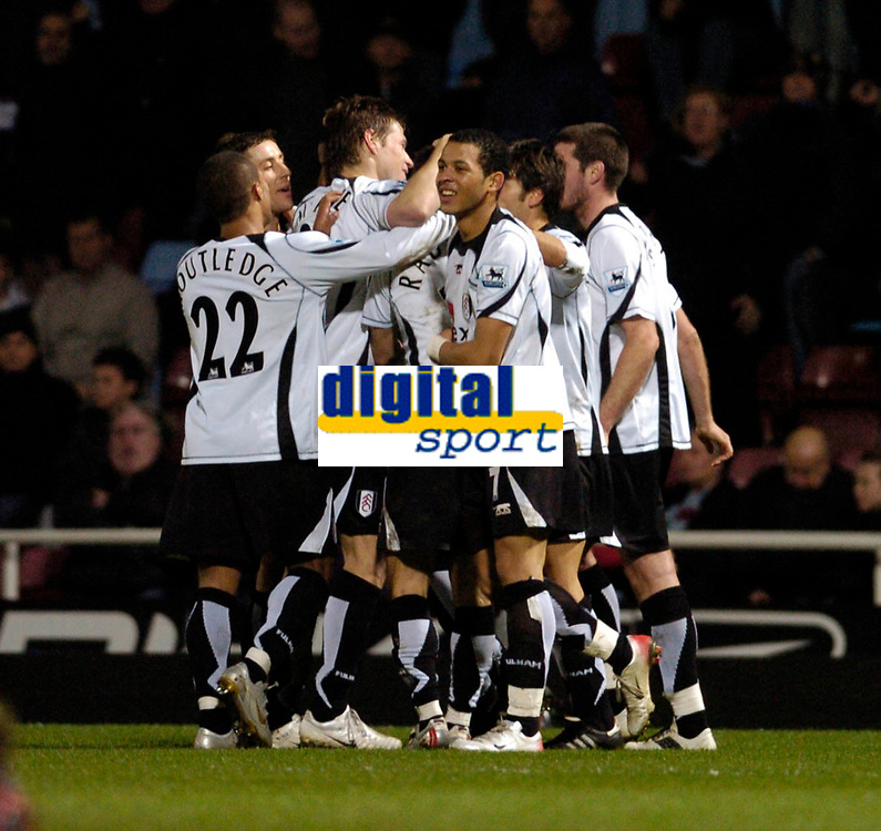 Photo: Leigh Quinnell.<br /> West Ham United v Fulham. The Barclays Premiership. 13/01/2007. Fulham celebrate the late goal with scorer Philippe Christanval.