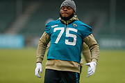 Jawaan Taylor (OL) of the Jacksonville Jaguars (75)<br />  during the Media day / training session / press conference for Houston Texans at London Irish Training Ground, Hazelwood Centre, United Kingdom on 1 November 2019.