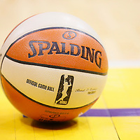 03 August 2014: A WNBA official game ball is seen during the Los Angeles Sparks 70-69 victory over the Connecticut Sun, at the Staples Center, Los Angeles, California, USA.