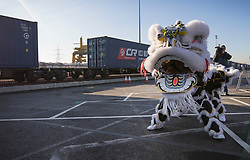 © Licensed to London News Pictures. 18/01/2017. London, UK.  A traditional dance greets the first direct rail freight train from China as it arrives at Barking Rail Freight Terminal east of London. The new service set off from China on the 3rd of January this year. London is now the 15th European city to join what the Chinese government calls the New Silk Route. Photo credit: Peter Macdiarmid/LNP