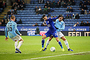 Leicester City's Rachid Ghezzal (31) shields the ball during the quarter final of the EFL Cup match between Leicester City and Manchester City at the King Power Stadium, Leicester, England on 18 December 2018.