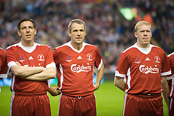 LIVERPOOL, ENGLAND - Thursday, May 14, 2009: Liverpool Legends' Gary Ablett, Alan Hansen and Steve Staunton before the Hillsborough Memorial Charity Game at Anfield. (Photo by David Rawcliffe/Propaganda)
