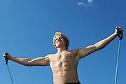 Young man exercising outdoors