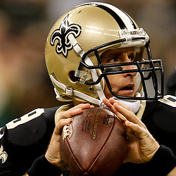 Oct 26, 2014; New Orleans, LA, USA; New Orleans Saints quarterback Drew Brees (9) before a game against the Green Bay Packers at the Mercedes-Benz Superdome. Mandatory Credit: Derick E. Hingle-USA TODAY Sports
