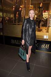 CLARA PAGET at a party to celebrate the launch of the Balmain H&M collection held at H&M Regent Street, London on 4th November 2015.