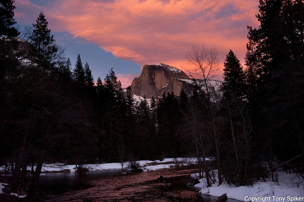 """""""Half Dome at Sunset"""" - Winter sunset over Half Dome with the Merced River in the foreground"""