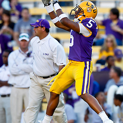 October 16, 2010; Baton Rouge, LA, USA; LSU Tigers wide receiver Jarrett Fobbs (5) during warm ups prior to kickoff against the McNeese State Cowboys at Tiger Stadium. LSU defeated McNeese State 32-10. Mandatory Credit: Derick E. Hingle