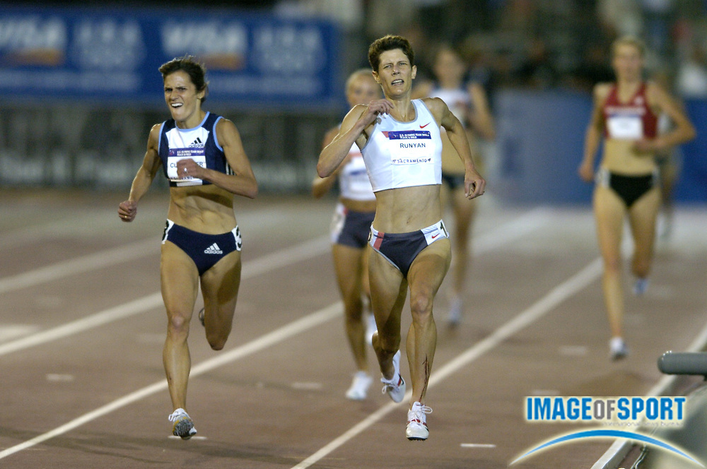 Jul 12, 2004; Sacramento, CA, USA; Shayne Culpepper (left) defeats Marla Runyan to win the women's 5,000 meters, 15:07.41 and 15:07.48, in the U.S. Olympic Track & Field Trials at Cal State Sacramento's Hornet Stadium. Photo by Image of Sport
