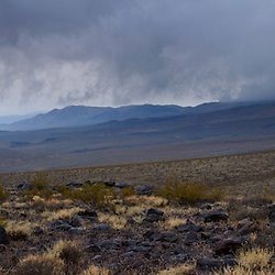 Panorama view of a storm over the Panamint Valley of Death Valley National Park, CA.