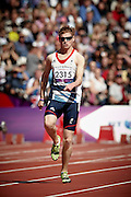 Rhys Jones of Great Britain finishes 5th in the Men's 200 meter T37 Round 1 Heat 1 with a personal best time of 24.39 at the Olympic Stadium on day 2 of the London 2012 Paralympic Games. 31st August 2012.