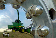 Reflected in the hub cap of the truck, custom harvestor Kenny Osowski unloads wheat from a combine as he harvests for O.J. Packebush near Partridge, Kan. Tuesday eveing June 19, 2001. (AP Photo/The Hutchinson News, Travis Morisse)