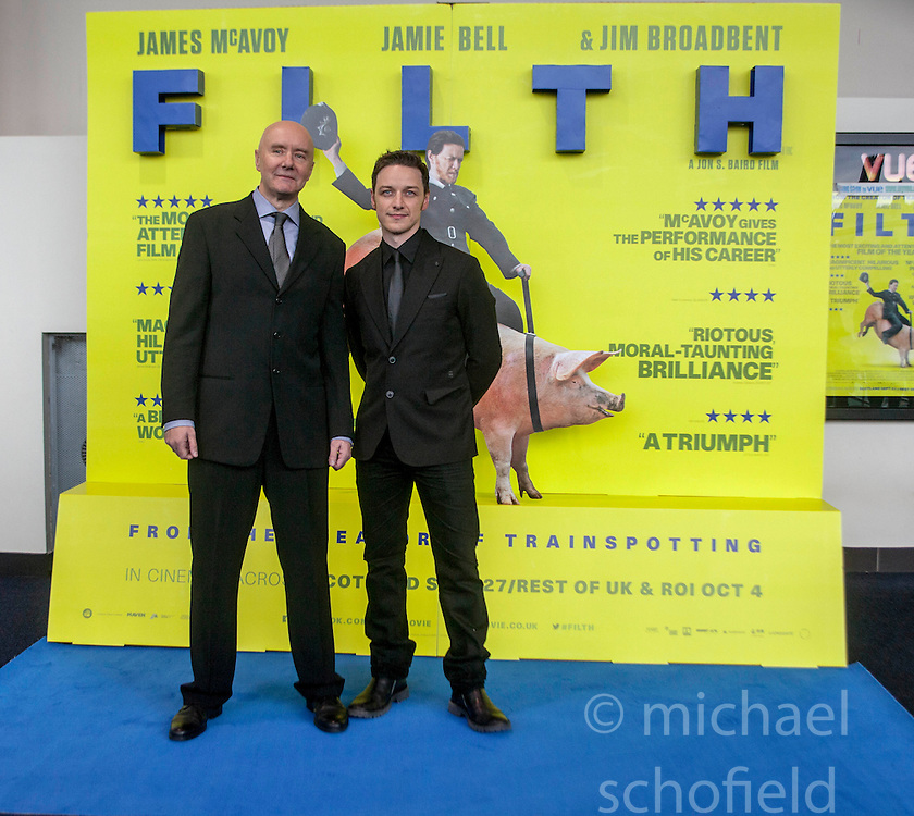 Irvine Welsh and James McAvoy, <br /> Edinburgh hosts the World Premiere of Filth at the Omni cinema.<br /> &copy;Michael Schofield.