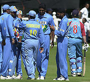24/06/2002.Sport - Cricket - .One day game 50 overs - Kent CC vs India.St Lawrence Ground - Canterbury.The Indian squard celebrate with bowler Yinu Yohannan, the wicket of  James Hockley.