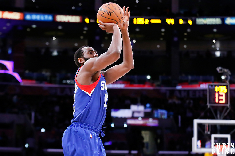 22 March 2015: Philadelphia 76ers forward Luc Richard Mbah a Moute (12) takes a jump shot during the Los Angeles Lakers 101-87 victory over the Washington Wizards, at the Staples Center, Los Angeles, California, USA.