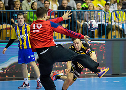 Matevz Skok of Celje PL vs Groetzki Patrick of RNL during handball match between RK Celje Pivovarna Lasko (SLO) and Rhein-Neckar Loewen (GER) in Round 6 of EHF Champions League 2014/15, on November 23, 2014 in Arena Zlatorog, Celje, Slovenia. Photo by Vid Ponikvar / Sportida