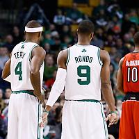 17 November 2012: Boston Celtics shooting guard Jason Terry (4) is seen next to Boston Celtics point guard Rajon Rondo (9) during the Boston Celtics 107-89 victory over the Toronto Raptors at the TD Garden, Boston, Massachusetts, USA.