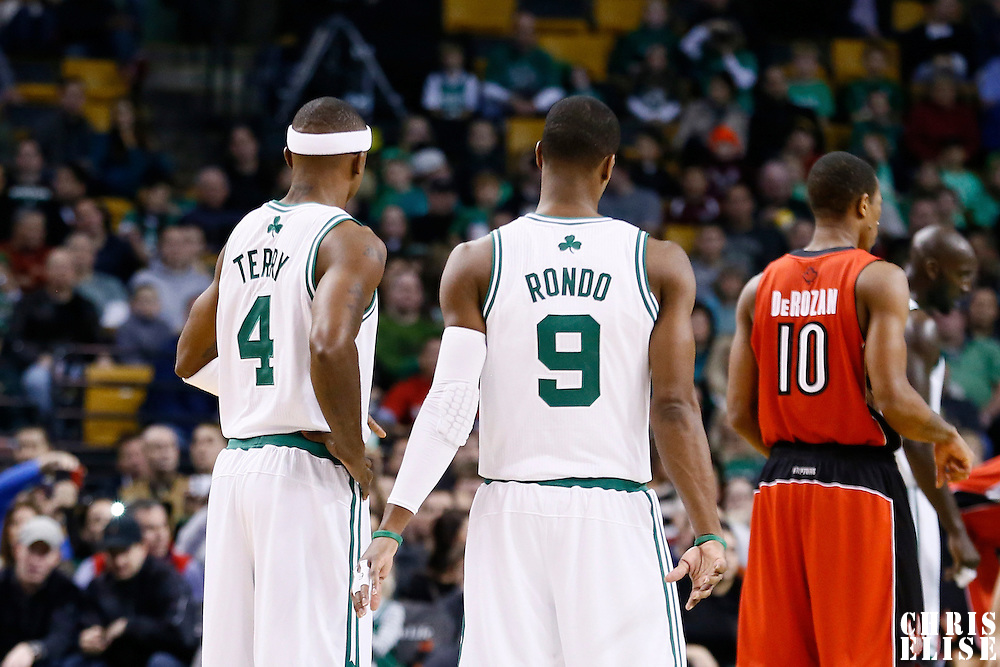 17 November 2012: Boston Celtics shooting guard Jason Terry (4) is seen next to Boston Celtics point guard Rajon Rondo (9) during the Boston Celtics 107-89 victory over the Toronto Raptors at the TD Garden, Boston, Massachusetts, USA.