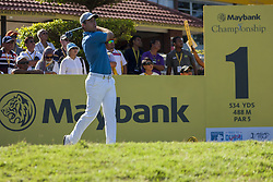 February 3, 2018 - Shah Alam, Kuala Lumpur, Malaysia - Nino Bertasio is seen taking a shot from hole no 1 on day 3 at the Maybank Championship 2018...The Maybank Championship 2018 golf event is being hosted on 1st to 4th February at Saujana Golf & Country Club. (Credit Image: © Faris Hadziq/SOPA via ZUMA Wire)